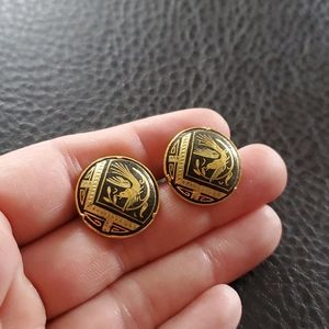 VTG Damascene screw-back earrings